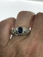 Vintage Blue Sapphire Ring 925 Sterling Silver Citrine Size 8