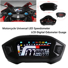 Motorcycle REAL TIME Universal LED Speedometer LCD Digital Odometer Guage Trim