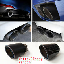 Blue End Carbon Fiber Exhaust Tip Pipe Stainless Steel 63mm In -101mm Out