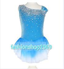 Ice Figure Skating Dress Figure skaitng Dress blue lycra For Competition xx62