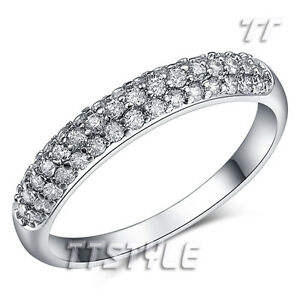 TTstyle Rounded Sparkling Clear CZ Micro Pave Eternity Wedding Ring NEW Arrival