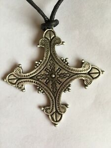 Gothic Style Metal Cross On Cord Necklace