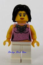 NEW Lego Female Minifig w/PINK TOP & White LEGS Teenager Short BLACK HAIR