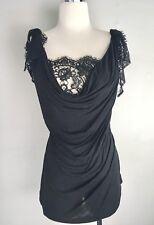 Dolce & Gabbana Jersey Lace Insert Tank Top 46 10 12 Large Black Sleeveless