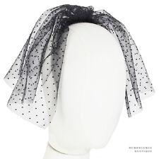 Maison MIchel Paris Black Sheer Mesh Dot Patterned Comb Veil Fascinator