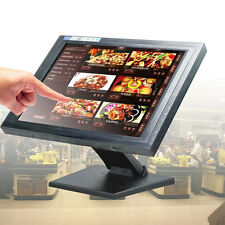 """15 """"LCD Touch Screen LED Monitor USB Display Multimediale VGA+POS Stand Bar Pub"""