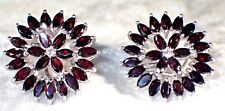 NATURAL TOP BLACK RED MOZAMBIQUE GARNET 925 STERLING 14K GOLD PLATE EARRINGS#104