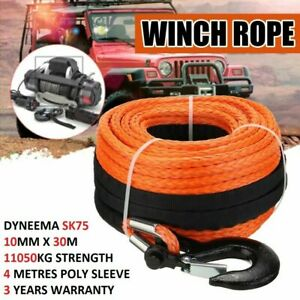 New Winch Rope 10mm x 30m Synthetic Dyneema SK75 Tow Recovery Cable 4WD