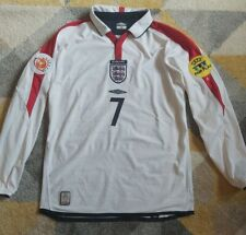 BECKHAM #7 England Long Sleeve HOME Football Shirt Jersey 2004 euro SMALL mens