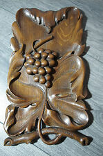 antique '20 wooden wood hand carved signed platter tray grape fruit black forest