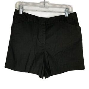Ann Taylor LOFT Women Size 4 Black Flat Front Shorts Linen Blend NEW
