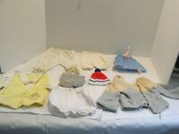 Antique Vintage Clothes Baby/Doll: 3-Pants,2-Hats,1-Shirt,1-Sweater,1-dress #104