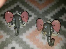 2 Vintage Elephant Head Coat Hooks