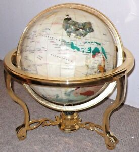"""330 mm Mother of Pearl 13"""" inches Gemstone Globe on Gold Brass Table Top Stand"""