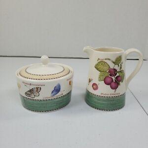 Wedgwood Sugar Bowl & Creamer Sarah's Garden Queens Ware England 1997 Vintage