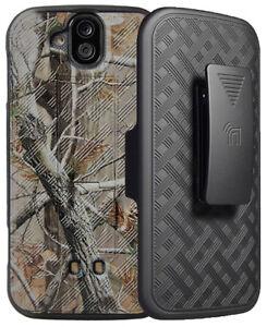 Camo Leaf Tree Kickstand Case + Belt Clip Holster for Kyocera DuraForce Pro