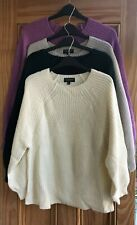 Topshop New Slouchy Ribbed Jumper Top Cream Green Purple Size 14 -16