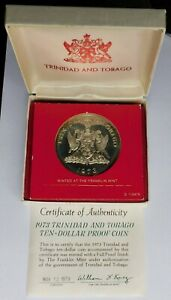 1973 Trinidad and Tobago Ten-Dollar Sterling Silver Proof Coin, with Box & COA