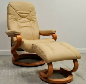 Himolla swivel recliner leather chair and Stool Cream 1606216