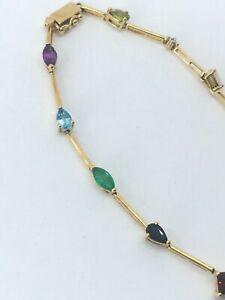 lovely delicate bracelet 9ct OPAL Peridot emerald pearl Garnet Sapphire Topaz...