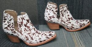 Wmns ARIAT Dixon Haircalf Western Leather Ankle Boots sz 7.5 B ~ Excellent