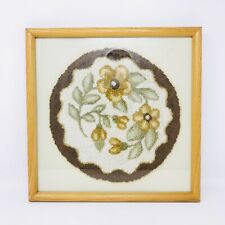 Vintage Framed & Matted Round Needlepoint Footstool Cover Sage Gold Brown