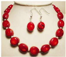 New natural red coral & fashion white pearl  necklace earrings set 18 inch