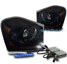 04-05 DODGE DURANGO REPLACEMENT HEADLIGHT LAMP BLACK/SMOKE W/BLUE DRL LED+6K HID