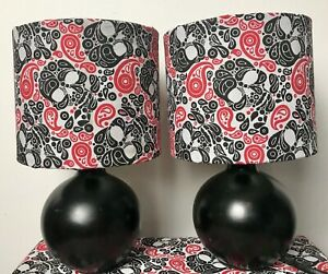 Pair Of Skull Bedside Table Lamps/black Ceramic Bases/Handcrafted  Shades