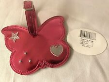 Atties Girl's Pink Metallic Butterfly Luggage Tag Euc (no brand tag)