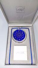 NIB LALIQUE STERLING + COBALT BLUE MEDAL CACTUS CAP ART GLASS PENDANT + NECKLACE