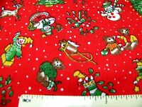 """Vintage Cotton Fabric TINY CHRISTMAS ITEMS Red Green Brown Gold 37"""" x 54""""    H ."""