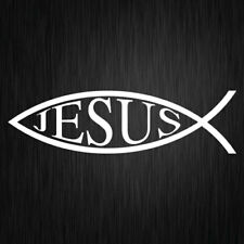 JESUS FISH STICKER, VINYL CAR DECAL, RELIGION, PRAYER, 200mm x 55mm