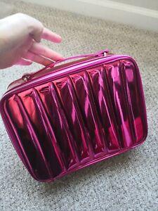 2020 Holiday Lancome Metallic Pink Softside Cosmetic Makeup Bag TRAIN CASE