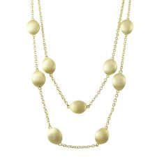 Gold Finish Matte Ball Two Row Station Necklace, 16'' with 2'' Extender