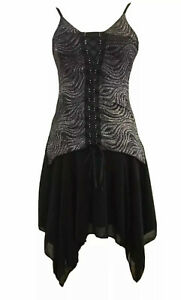 """FACE OFF"" Size 8-10 Black Sparkling Silver Spaghetti Strap Evening Formal Dress"