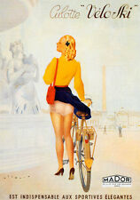 "BICYCLE FASHION GIRL UNDERWEAR BIKE CYCLES VELO SKI VINTAGE POSTER REPRO 12""X16"""