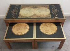 Vintage World Map Set Of 3 Coffee Nest Of Tables Rare Brass Fittings Original