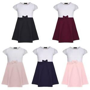 Girls Short Sleeve Bow Dress Lace Top Textured Skirt Party Casual 3-14 Years