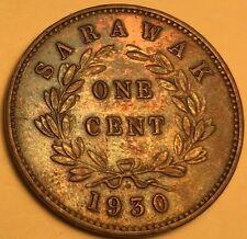 Sarawak - Charles Brooke, Rajah - One Cent - 1930-H - KM-18 - BU - Toned Beauty!
