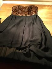 Melrose Pretty PROM PARTY Dress. Size 8. Black Chiffon With Satin Bodice UNWORN!
