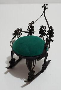 Vintage Black Tin Metal Rocking Chair with Blue Pin Cushion Seat