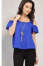 PAPAYA CHIFFON OPEN SHOULDER TOP BLOUSE WITH NECKLACE  SIZE M