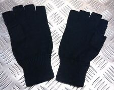 Quality Acrylic Black Fingerless Gloves / Mitts Knitted cuffs - Brand New