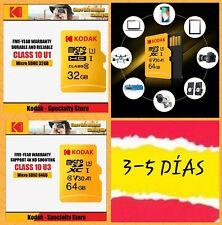 Tarjeta micro sd Kodak 32 Gb U1 SDHC,Kodak 64 Gb U3 SDXC Clase 10 Velocidad U3