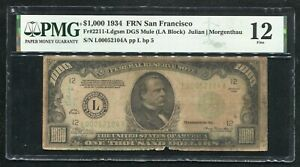 FR. 2211-Ldgsm 1934 $1,000 ONE THOUSAND DOLLARS FRN SAN FRANCISCO,CA PMG FINE-12