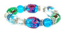 """Pink Flamingo Tropical Fish Palm Tree Glass Stretch Bracelet 7.5"""" New w Gift Bag"""