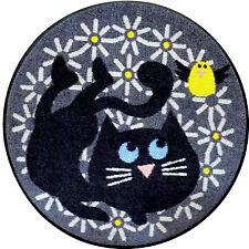 """Hochwertiger Teppich Türmatte """" Piep """" EFIA Katze rund 85 cm"""
