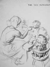 J.H. Dowd Day Care Nursery NURSE FEEDING BABIES 1938 Vintage Art Print Matted