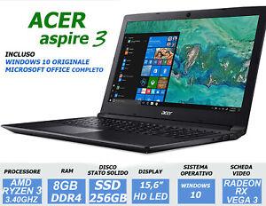 NOTEBOOK ACER 15,6 AMD RYZEN 3 3.40GHZ 8GB SSD 256GB RADEON - PC PORTATILE NUOVO